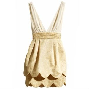 H&M Conscious Collection Cream & Gold Tulip Dress